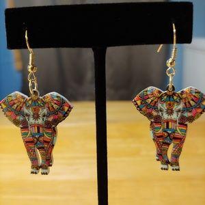 Multi-Coloured. Elephant. Double Sided. Acrylic.